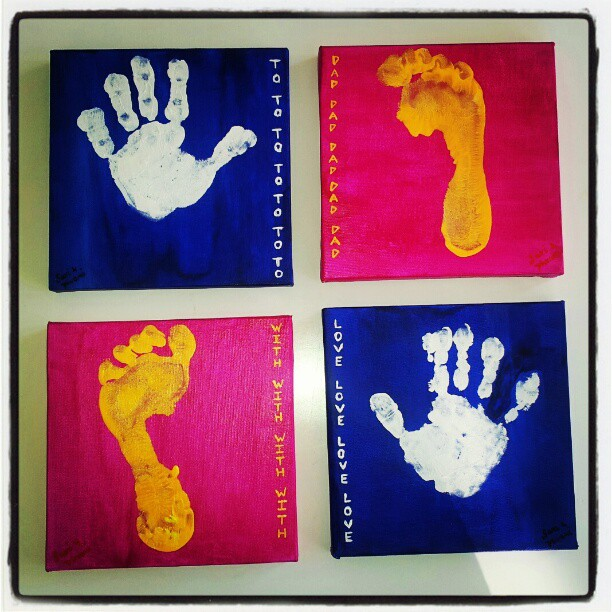 A painted set of my daughter's hand and foot prints
