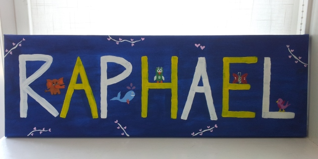 A custom made baby name sign