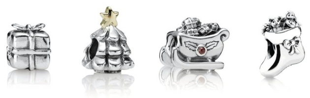 stocking, christmas tree, santa in a sleigh and other cute charms from Pandora