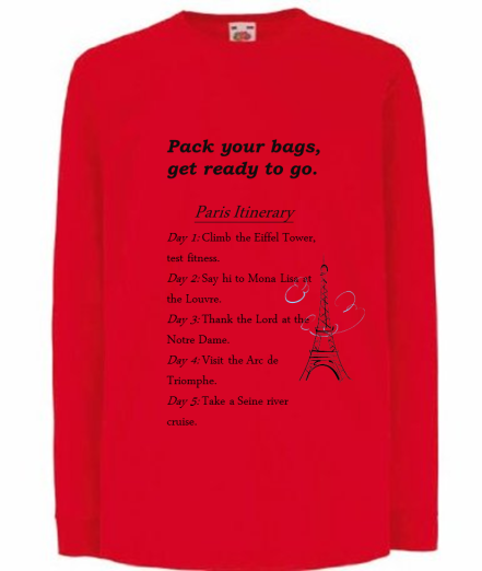 A surprise gift: A holiday itinerary on a t-shirt