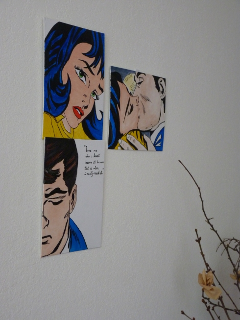 hanging a personalised pop art painting inspired by ROY LICHTENSTEIN