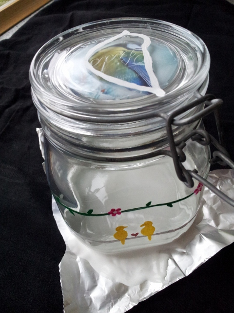 steps for a DIY painted glass jar