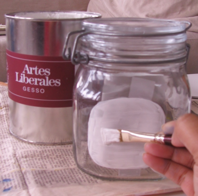 DIY painted glass jar