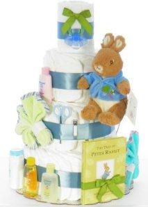 a Peter Rabbit book diaper cake