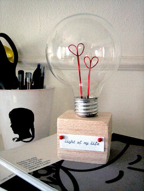 handmade valentine light bulbb