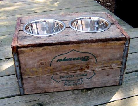 handmade dog feeder