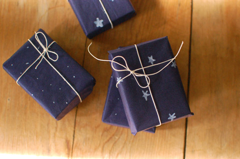 Black gift wrap with stars