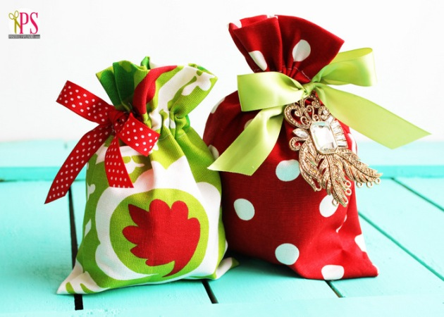 colourful fabric gift bag