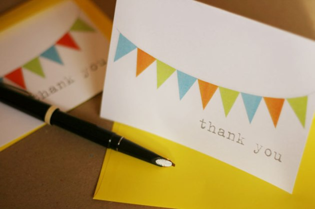 Thank you gifts - colourful, bunting thank you card