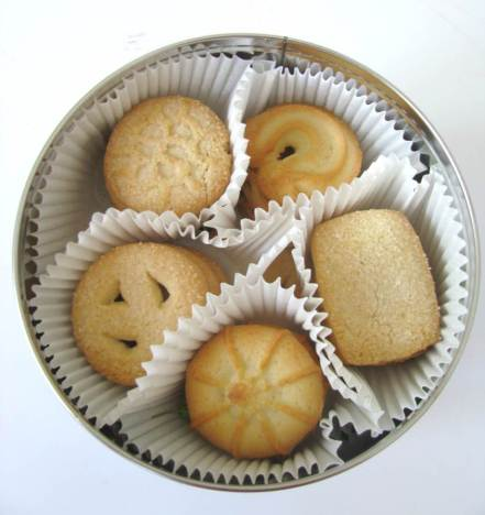 Blue tin of Danish butter cookies gift