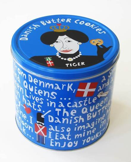 Blue tin of Danish butter cookies