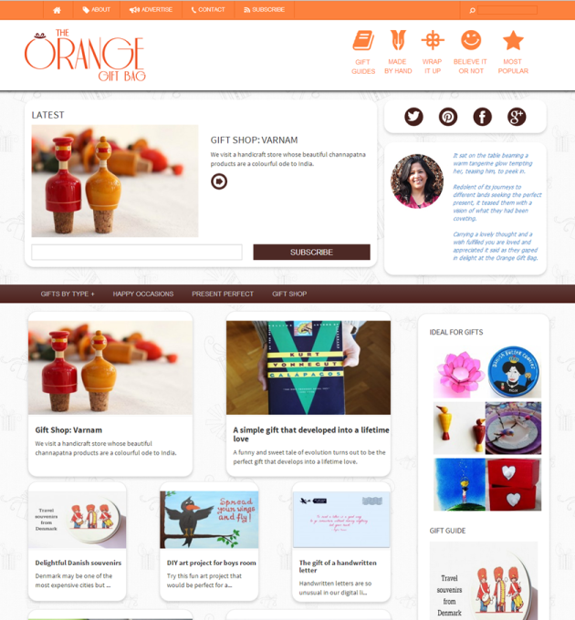 Creative gifts, handmade gifts at The Orange Gift Bag